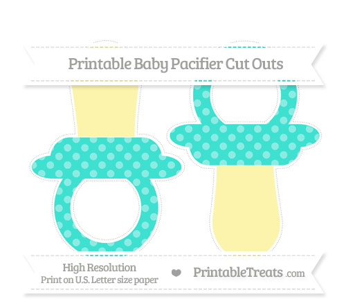 Free Turquoise Dotted Pattern Large Baby Pacifier Cut Outs