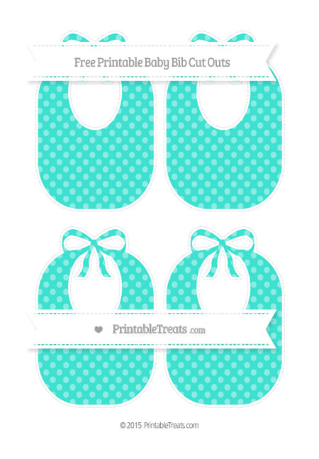 Free Turquoise Dotted Pattern Medium Baby Bib Cut Outs