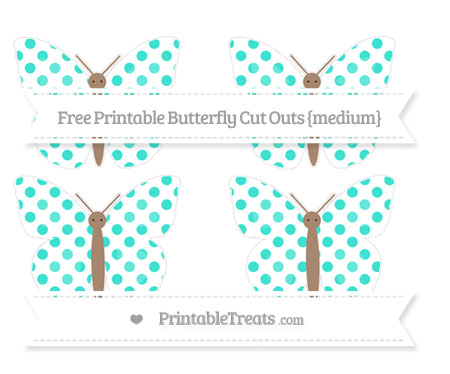Free Turquoise Dotted Pattern Medium Butterfly Cut Outs
