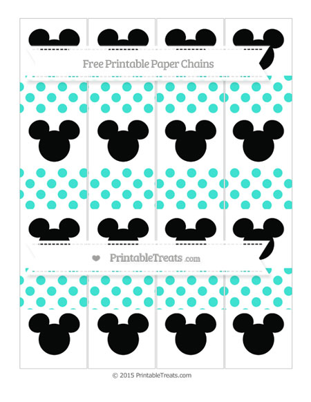 Free Turquoise Dotted Pattern Mickey Mouse Paper Chains