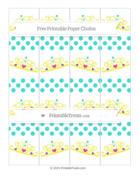 Free Turquoise Dotted Pattern Princess Tiara Paper Chains