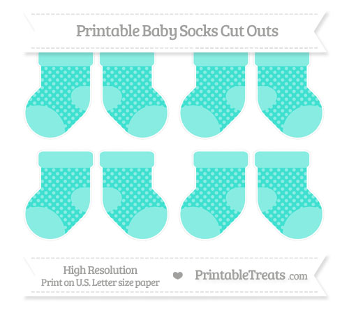 Free Turquoise Dotted Pattern Small Baby Socks Cut Outs