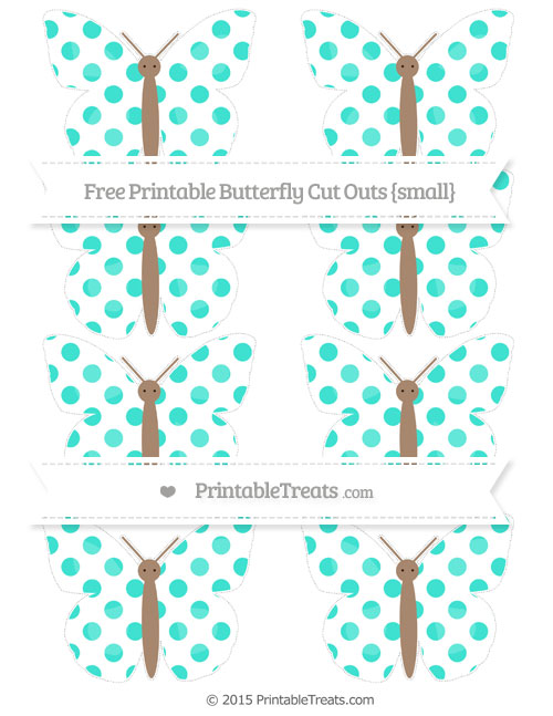 Free Turquoise Dotted Pattern Small Butterfly Cut Outs