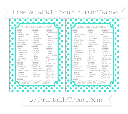 Free Turquoise Dotted Pattern What's in Your Purse Baby Shower Game