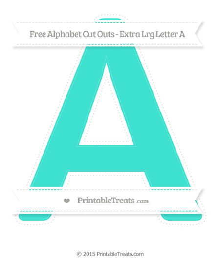 Free Turquoise Extra Large Capital Letter A Cut Outs