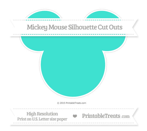 Free Turquoise Extra Large Mickey Mouse Silhouette Cut Outs