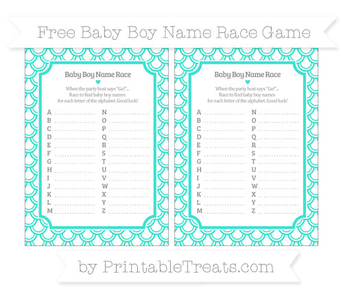 Free Turquoise Fish Scale Pattern Baby Boy Name Race Game