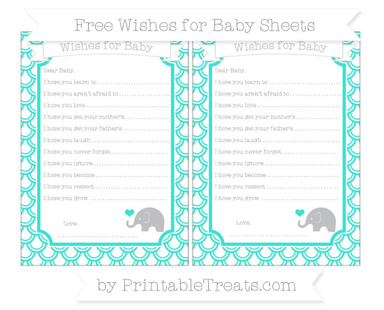 Free Turquoise Fish Scale Pattern Baby Elephant Wishes for Baby Sheets