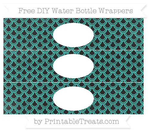 Free Turquoise Fish Scale Pattern Chalk Style DIY Water Bottle Wrappers