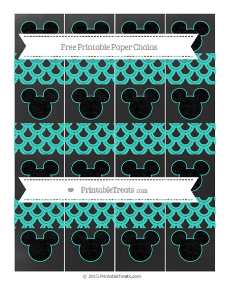 Free Turquoise Fish Scale Pattern Chalk Style Mickey Mouse Paper Chains