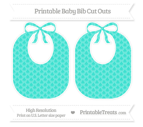 Free Turquoise Fish Scale Pattern Large Baby Bib Cut Outs