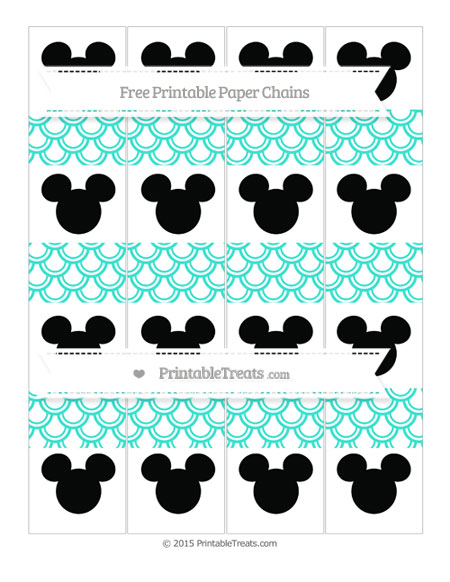 Free Turquoise Fish Scale Pattern Mickey Mouse Paper Chains