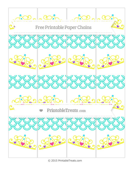 Free Turquoise Fish Scale Pattern Princess Tiara Paper Chains