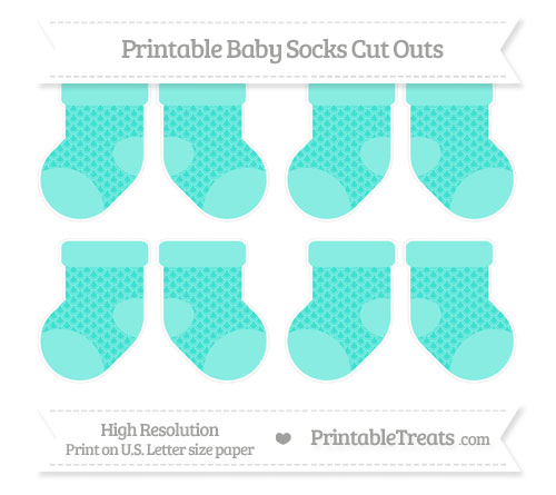 Free Turquoise Fish Scale Pattern Small Baby Socks Cut Outs