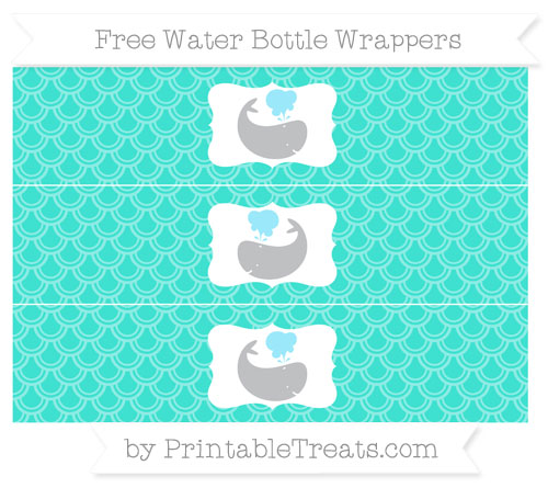 Free Turquoise Fish Scale Pattern Whale Water Bottle Wrappers