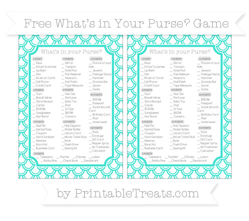 Free Turquoise Fish Scale Pattern What's in Your Purse Baby Shower Game