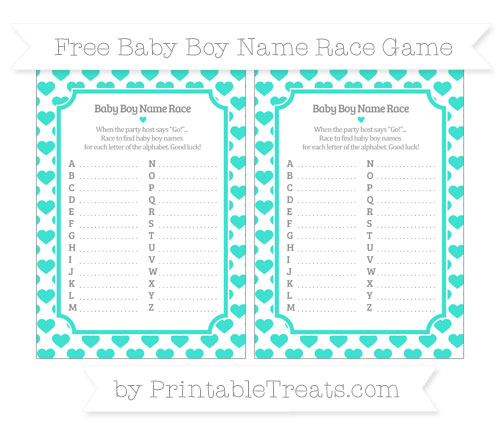 Free Turquoise Heart Pattern Baby Boy Name Race Game