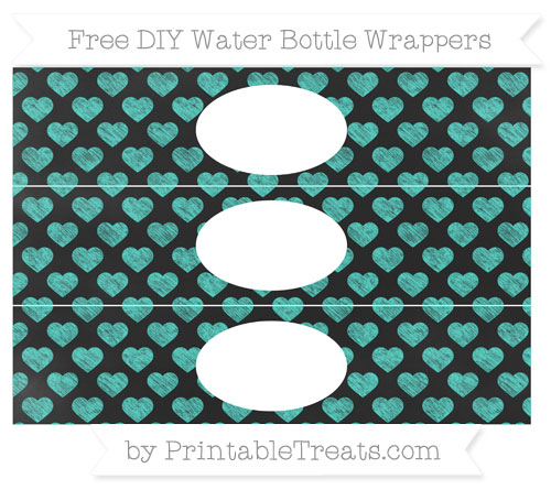 Free Turquoise Heart Pattern Chalk Style DIY Water Bottle Wrappers