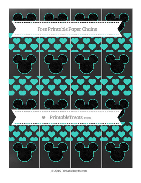 Free Turquoise Heart Pattern Chalk Style Mickey Mouse Paper Chains