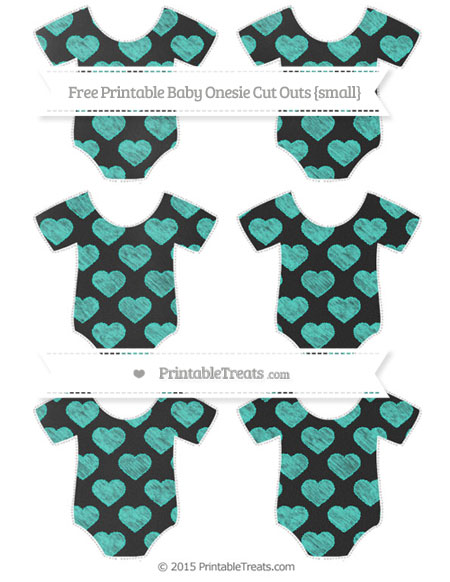Free Turquoise Heart Pattern Chalk Style Small Baby Onesie Cut Outs
