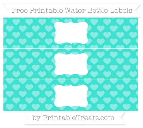 Free Turquoise Heart Pattern Water Bottle Labels