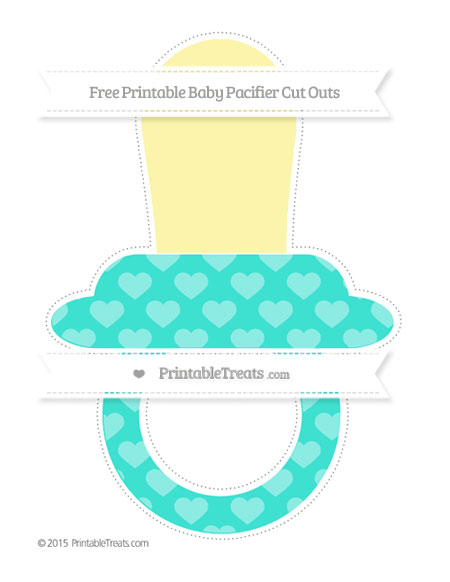 Free Turquoise Heart Pattern Extra Large Baby Pacifier Cut Outs