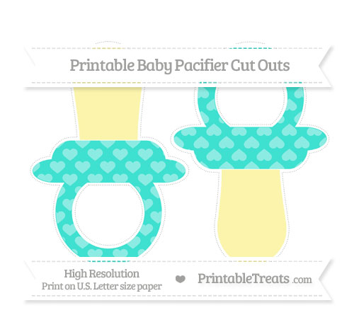Free Turquoise Heart Pattern Large Baby Pacifier Cut Outs