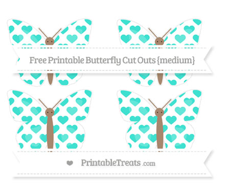 Free Turquoise Heart Pattern Medium Butterfly Cut Outs
