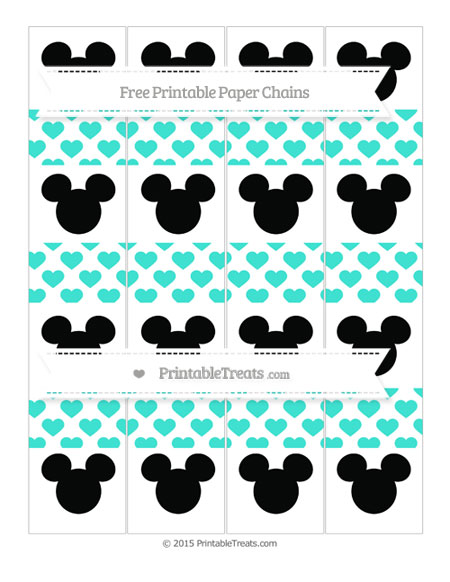 Free Turquoise Heart Pattern Mickey Mouse Paper Chains