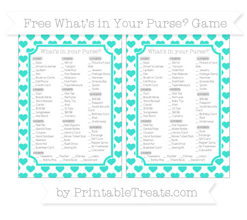 Free Turquoise Heart Pattern What's in Your Purse Baby Shower Game