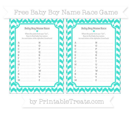 Free Turquoise Herringbone Pattern Baby Boy Name Race Game