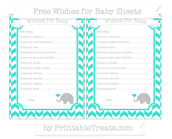 Free Turquoise Herringbone Pattern Baby Elephant Wishes for Baby Sheets