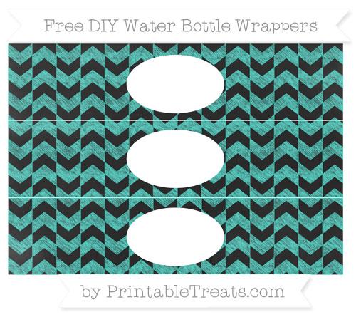 Free Turquoise Herringbone Pattern Chalk Style DIY Water Bottle Wrappers