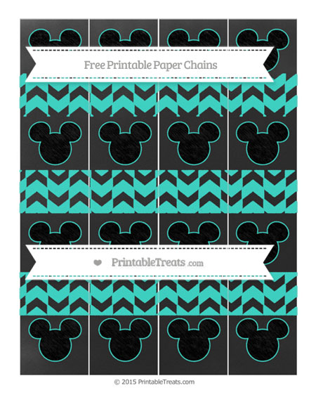 Free Turquoise Herringbone Pattern Chalk Style Mickey Mouse Paper Chains