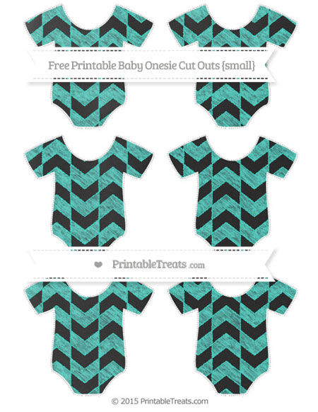 Free Turquoise Herringbone Pattern Chalk Style Small Baby Onesie Cut Outs