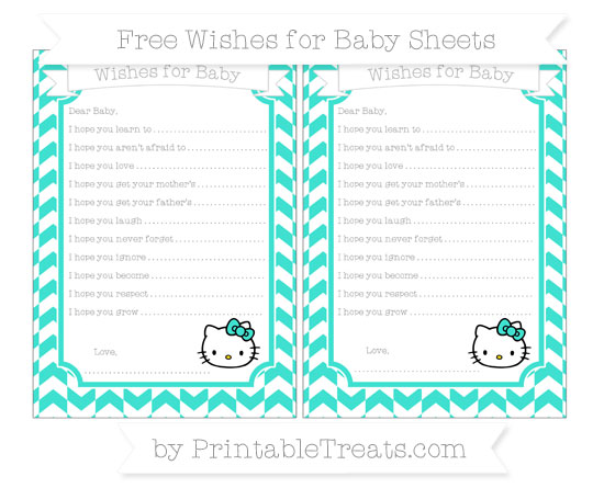 Free Turquoise Herringbone Pattern Hello Kitty Wishes for Baby Sheets