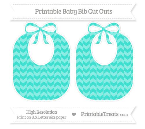 Free Turquoise Herringbone Pattern Large Baby Bib Cut Outs