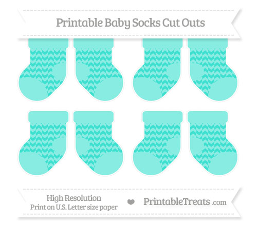 Free Turquoise Herringbone Pattern Small Baby Socks Cut Outs