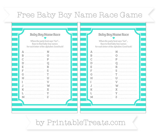 Free Turquoise Horizontal Striped Baby Boy Name Race Game