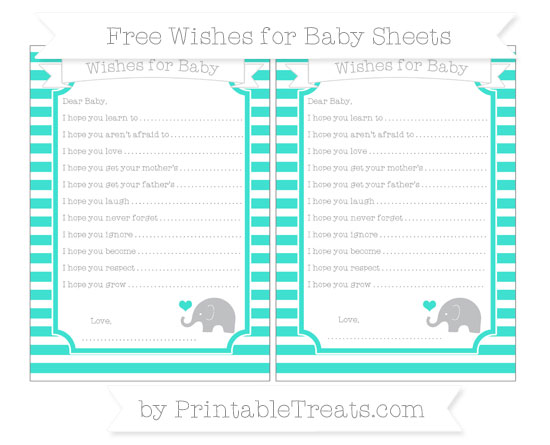 Free Turquoise Horizontal Striped Baby Elephant Wishes for Baby Sheets