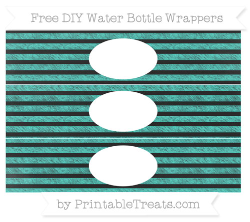 Free Turquoise Horizontal Striped Chalk Style DIY Water Bottle Wrappers