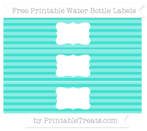 Free Turquoise Horizontal Striped Water Bottle Labels