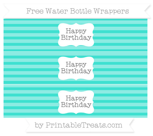 Free Turquoise Horizontal Striped Happy Birhtday Water Bottle Wrappers