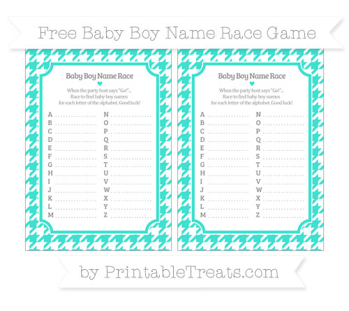 Free Turquoise Houndstooth Pattern Baby Boy Name Race Game