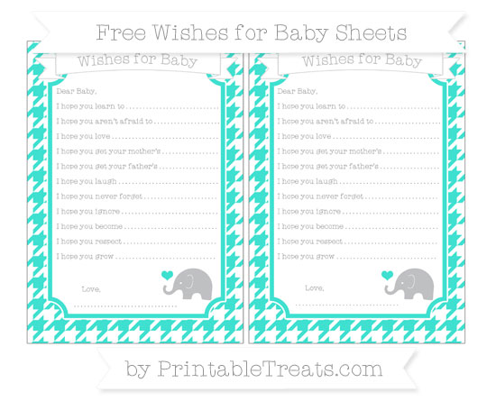 Free Turquoise Houndstooth Pattern Baby Elephant Wishes for Baby Sheets