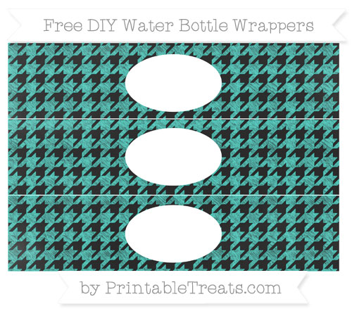 Free Turquoise Houndstooth Pattern Chalk Style DIY Water Bottle Wrappers