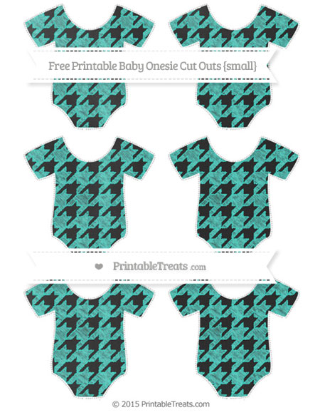 Free Turquoise Houndstooth Pattern Chalk Style Small Baby Onesie Cut Outs