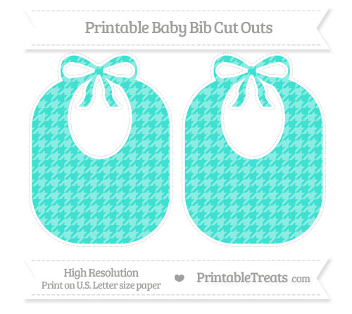 Free Turquoise Houndstooth Pattern Large Baby Bib Cut Outs