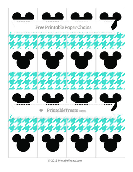 Free Turquoise Houndstooth Pattern Mickey Mouse Paper Chains