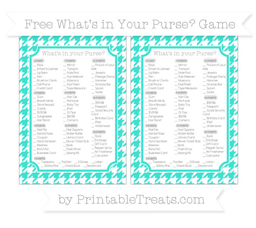 Free Turquoise Houndstooth Pattern What's in Your Purse Baby Shower Game